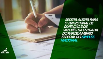 POST 3 LINK - Receita Federal alerta para o prazo final de quitação dos valores da entrada do Parcelamento Especial do Simples Nacional